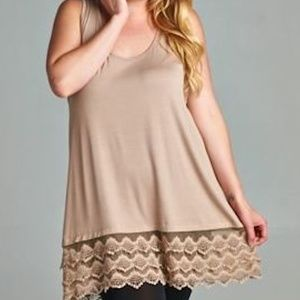 NEW EMERALD MOCHA PLUS LACE EXTENDER TANK TOP